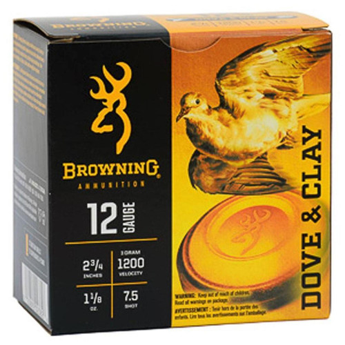 "Browning 12Ga 2.75"" 1-1/8 Oz. 1200 Fps #7.5 Dove And Clay Shotshell Ammunition 25 Round Box - B193811227"