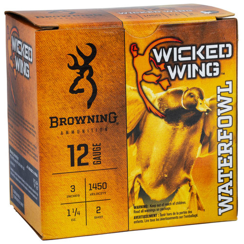 "Browning Wicked Wing 12ga. 3"" 1-1/4oz #2 Steel Shot Ammunition, 25 Round Box"