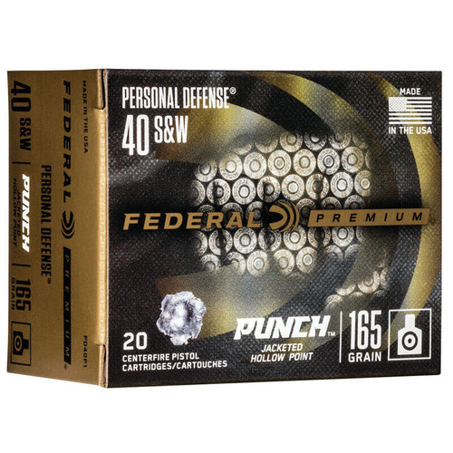 Federal PD40P1 Personal Defense Punch 40 S&W 165 gr Jacketed Hollow Point (JHP) 20 Bx/ 10 Cs