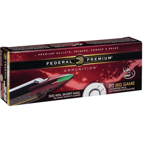Federal Premium Ammunition 300 Winchester Short Magnum (WSM) 180 Grain Trophy Copper Tipped Boat Tail Lead-Free Box of 20