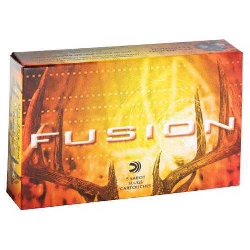 "Federal Premium Fusion F154FS, 12 Gauge, 2-3/4"", 3/4 oz, 1900 fps, Copper Jacketed Lead Sabot Slug, 5 Rd/bx"