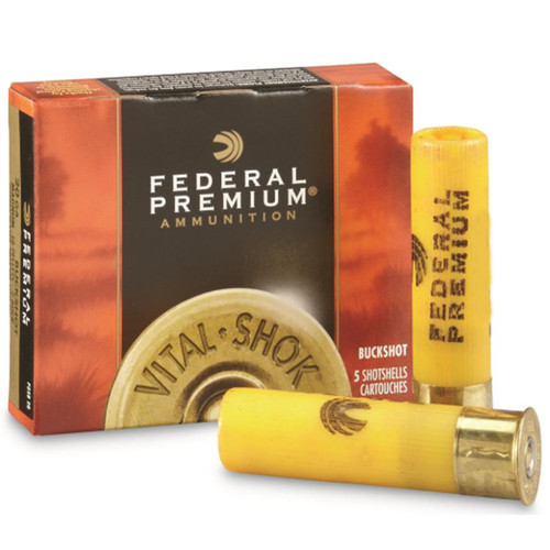 "Federal Premium Vital-Shok Ammunition 20 Gauge 2-3/4"" Buffered #3 Copper Plated Buckshot 20 Pellets Box of 5"