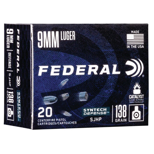 Federal S9SJT1 Syntech Defense 9mm Luger 138 gr Segmented Jacketed Hollow Point (SJHP) 20 Bx/ 10 Cs