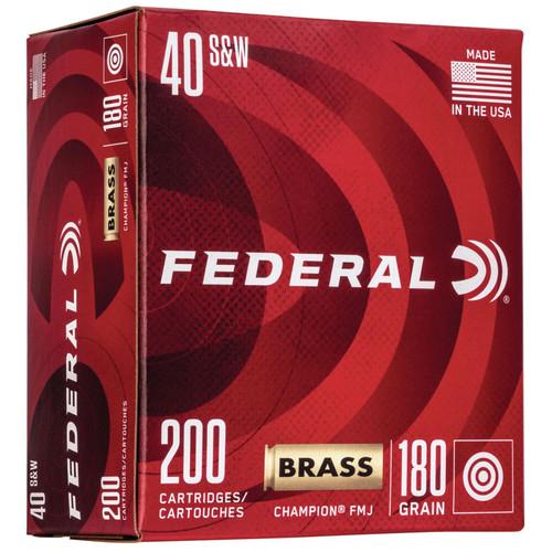 Federal WM52232 Champion Training 40 S&W 180 gr Full Metal Jacket (FMJ) 200 Bx/ 5 Cs