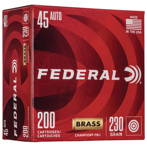 Federal WM52332 Champion Training 45 ACP 230 gr Full Metal Jacket (FMJ) 200 Bx/ 5 Cs