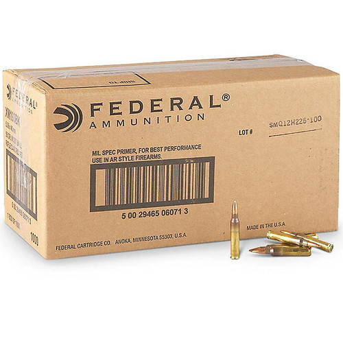 Federal XM193 5.56 NATO Ammunition 1000 Rounds 55 Grain FMJ 3240fps