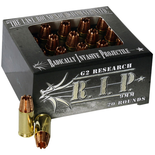 G2 Research RIP 9MM R.I.P 9mm Luger 92 gr Hollow Point (HP) 20 Bx/ 25 Cs