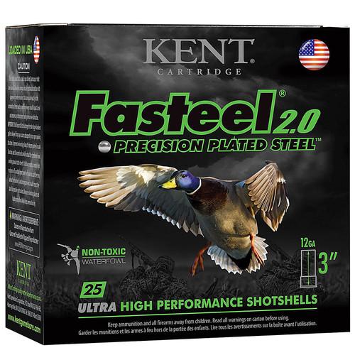 "Kent Cartridge K123FS402 Fasteel Waterfowl 12 Gauge 3"" 1-3/8 oz 2 Shot 25 Bx/ 10 Cs"