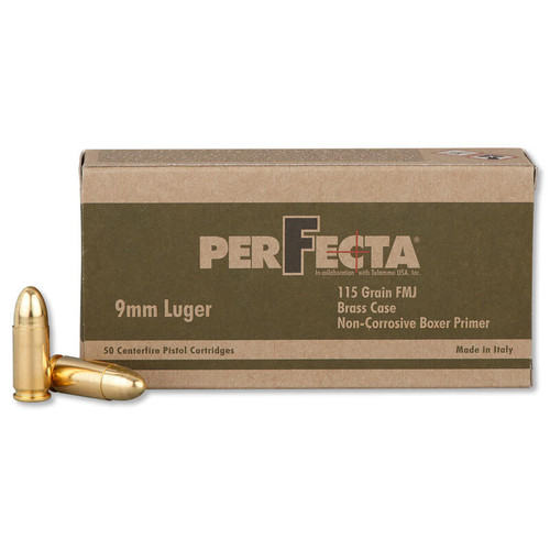 PerFecta 9mm Ammunition 50 Rounds FMJ 115 Grains PF900000