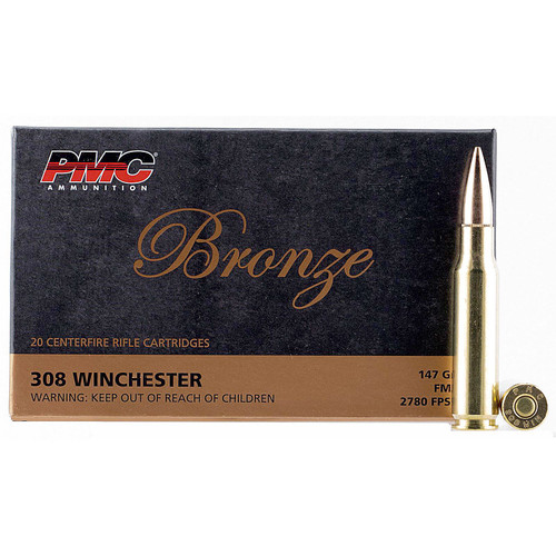 PMC 308B Bronze 308 Win 147 gr Full Metal Jacket Boat Tail (FMJBT) 20 Bx/ 25 Cs