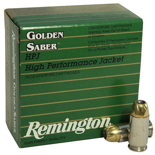 Remington Golden Saber Ammunition 45 ACP +P 185 Grain Brass Jacketed Hollow Point Box of 25