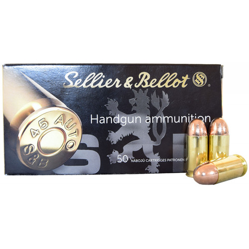 Sellier & Bellot SB45A Handgun 45 ACP 230 gr Full Metal Jacket (FMJ) 50 Bx/ 20 Cs