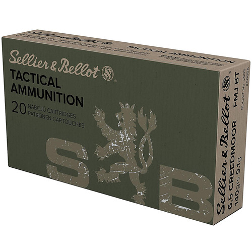 Sellier & Bellot SB65A Rifle 6.5 Creedmoor 140 gr Full Metal Jacket Boat Tail (FMJBT) 20 Bx/ 25 Cs