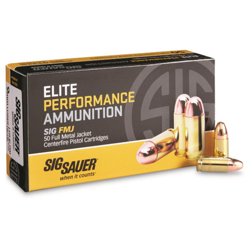 Sig Sauer E9MMB150 Elite Ball 9mm Luger 115 gr Full Metal Jacket (FMJ) 50 Bx/ 20 Cs