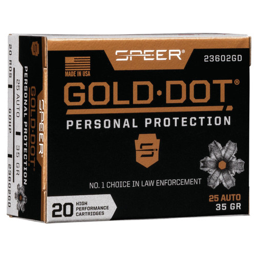Speer Ammo 23602GD Gold Dot Personal Protection 25 ACP 35 gr Hollow Point (HP) 20 Bx/ 10 Cs