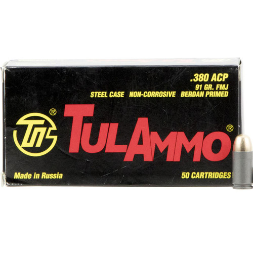 Tulammo TA380910 Handgun 380 ACP 91 gr Full Metal Jacket (FMJ) 50 Bx/ 20 Cs