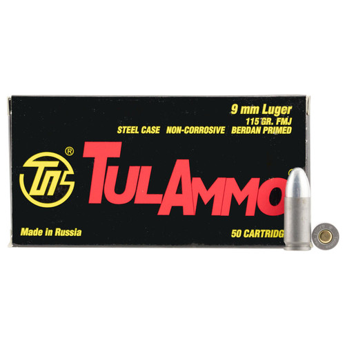 Tulammo TA919150 Handgun 9mm Luger 115 gr Full Metal Jacket (FMJ) 50 Bx/ 20 Cs