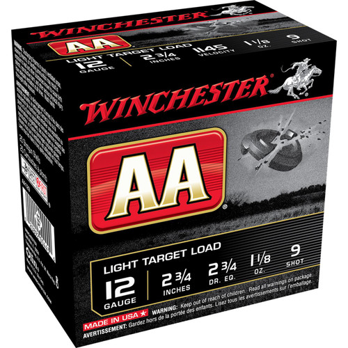 "Winchester Ammo AA129 AA Light Target Load 12 Gauge 2.75"" 1 1/8 oz 9 Shot 25 Bx/ 10 Cs"