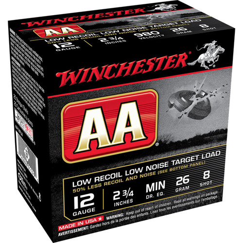 "Winchester Ammo AA12FL8 AA Low Recoil Low Noise 12 Gauge 2.75"" 1 oz 8 Shot 25 Bx/ 10 Cs"