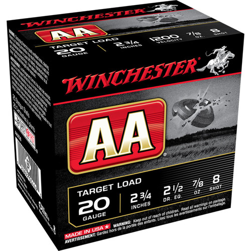 "Winchester Ammo AA208 AA Target 20 Gauge 2.75"" 7/8 oz 8 Shot 25 Bx/ 10 Cs"