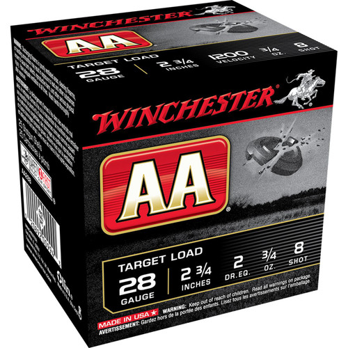 "Winchester Ammo AA288 AA Target 28 Gauge 2.75"" 3/4 oz 8 Shot 25 Bx/ 10 Cs"