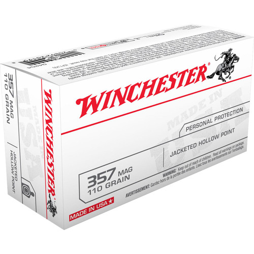 Winchester Ammo Q4204 Best Value 357 Mag 110 gr Jacketed Hollow Point (JHP) 50 Bx/ 10 Cs