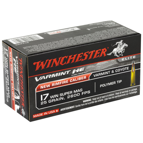 Winchester Ammo S17W25 Varmint HE 17 WSM 25 gr Polymer Tip 50 Bx/ 10 Cs