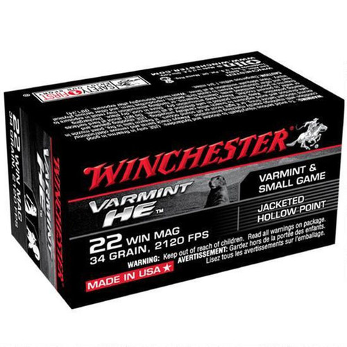 Winchester Ammo S22WM Varmint HE 22 Mag 34 gr Jacketed Hollow Point (JHP) 50 Bx/ 40 Cs