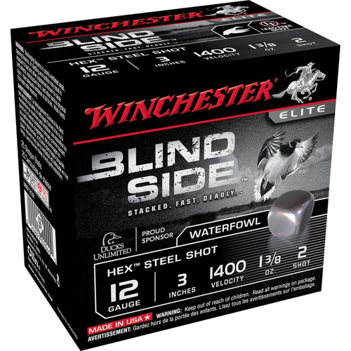 "Winchester Ammo SBS1232 Blindside 12 Gauge 3"" 1 3/8 oz 2 Shot 25 Bx/ 10 Cs"