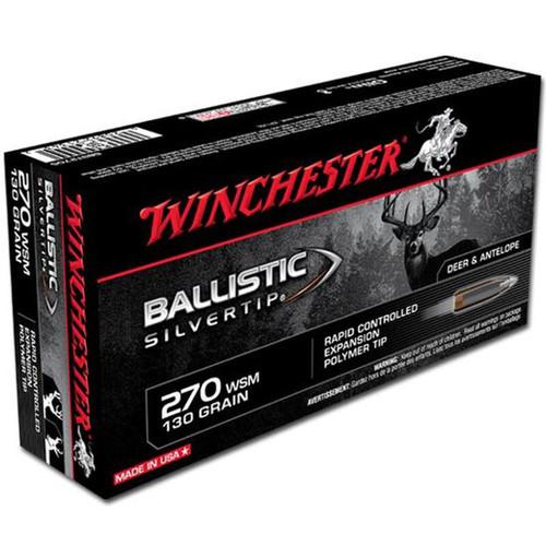 Winchester Ammo SBST2705 Ballistic Silvertip 270 WSM 130 gr Polymer Tip 20 Bx/ 10 Cs