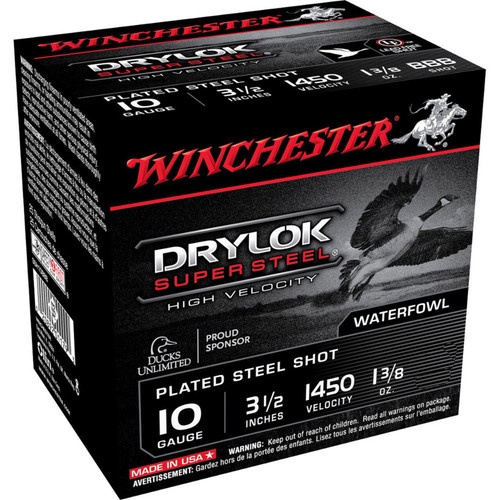 "Winchester Ammo SSH102 Drylock Super Steel High Velocity 10 Gauge 3.5"" 1 3/8 oz 2 Shot 25 Bx/ 10 Cs"