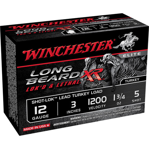 "Winchester Ammo STLB1235 Long Beard XR Shot-Lok 12 Gauge 3"" 1 3/4 oz 5 Shot 10 Bx/ 10 Cs"
