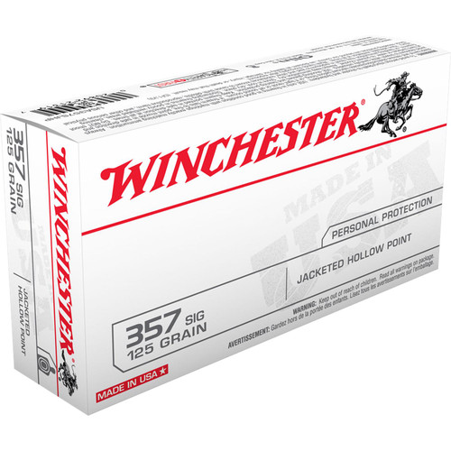 Winchester Ammo USA357SJHP USA 357 Sig 125 gr Jacketed Hollow Point (JHP) 50 Bx/ 10 Cs