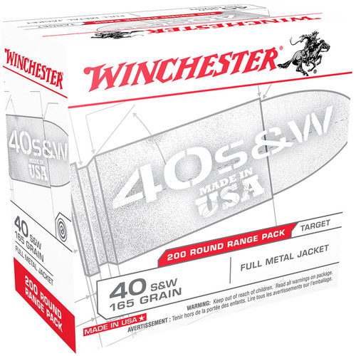 Winchester Ammo USA40W USA 40 S&W 165 gr Full Metal Jacket (FMJ) 200 Bx/ 3 Cs
