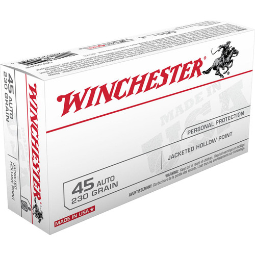 Winchester Ammo USA45JHP USA 45 ACP 230 gr Jacketed Hollow Point (JHP) 50 Bx/ 10 Cs