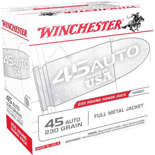 Winchester Ammo USA45W USA 45 ACP 230 gr Full Metal Jacket (FMJ) 200 Bx/ 3 Cs