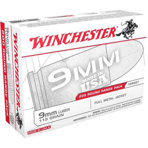 Winchester Ammo USA9W USA 9mm Luger 115 gr Full Metal Jacket (FMJ) 200 Bx/ 5 Cs