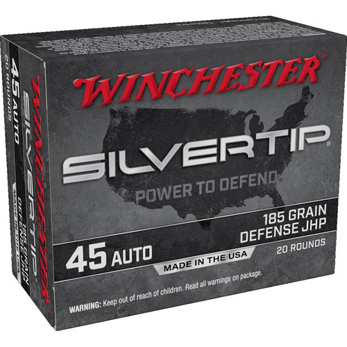 Winchester Ammo W45AST Super-X 45 ACP 185 gr Silvertip Hollow Point 20 Bx/ 10 Cs
