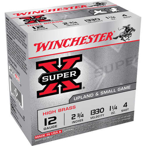 "Winchester Ammo X124 Super-X High Brass 12 Gauge 2.75"" 1 1/4 oz 4 Shot 25 Bx/ 10 Cs"