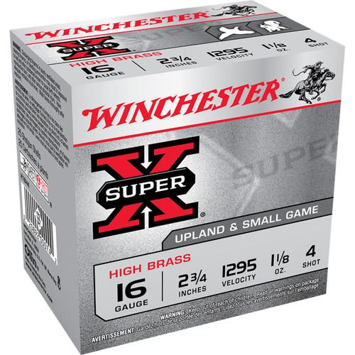 """Winchester Ammo X16H4 Super-X High Brass 16 Gauge 2.75"""" 1 1/8 oz 4 Shot 25 Bx/ 10 Cs"""