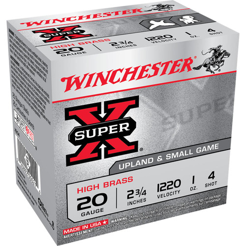 "Winchester Ammo X204 Super-X High Brass 20 Gauge 2.75"" 1 oz 4 Shot 25 Bx/ 10 Cs"