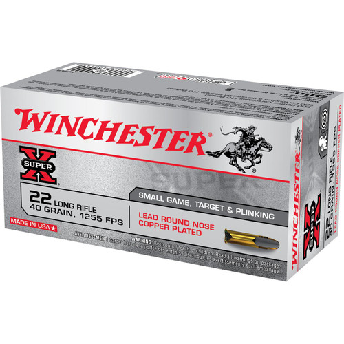 Winchester Ammo X22LR Super-X 22 LR 40 gr Lead Round Nose (LRN) 50 Bx/ 100 Cs