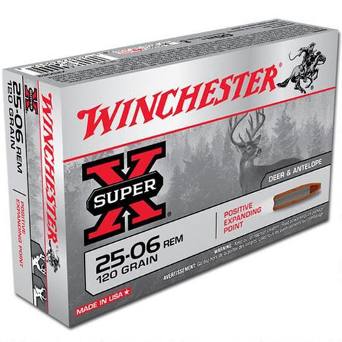 Winchester Ammo X25062 Super-X 25-06 Rem 120 gr Positive Expanding Point 20 Bx/ 10 Cs