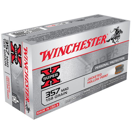 Winchester Ammo X3574P Super-X 357 Mag 158 gr Jacketed Hollow Point (JHP) 50 Bx/ 10 Cs