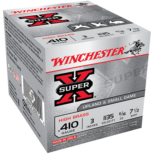 "Winchester Ammo X4137 Super-X High Brass 410 Gauge 3"" 11/16 oz 7.5 Shot 25 Bx/ 10 Cs"