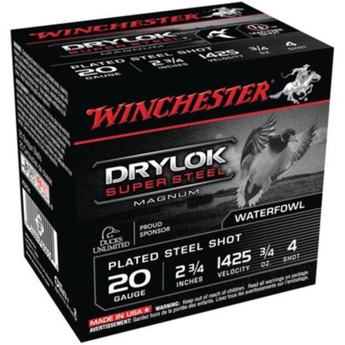 "Winchester Ammo XS204 Drylock Super Steel Magnum 20 Gauge 2.75"" 3/4 oz 4 Shot 25 Bx/ 10 Cs"