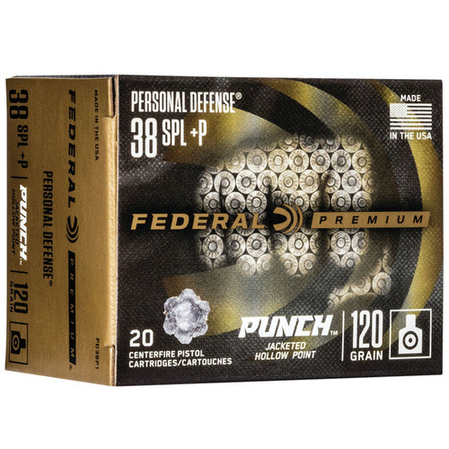 Federal PD38P1 Premium Punch 38 Special +P 120 gr JHP 20 Rounds