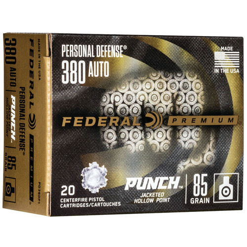 Federal PD380P1 Premium Punch 380 ACP 85 gr JHP 20 Rounds