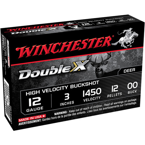 "Winchester SB12300 Double X HV 12 Gauge 3"" 12 Pellets 00 Buck Shot 5 Rounds"