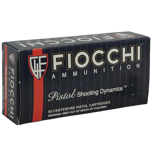 Fiocchi Pistol Shooting Dynamics 9mm Makarov Ammunition 50 Rounds